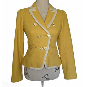 LOFT Tweed Wool Blazer Yellow & White Size 0P